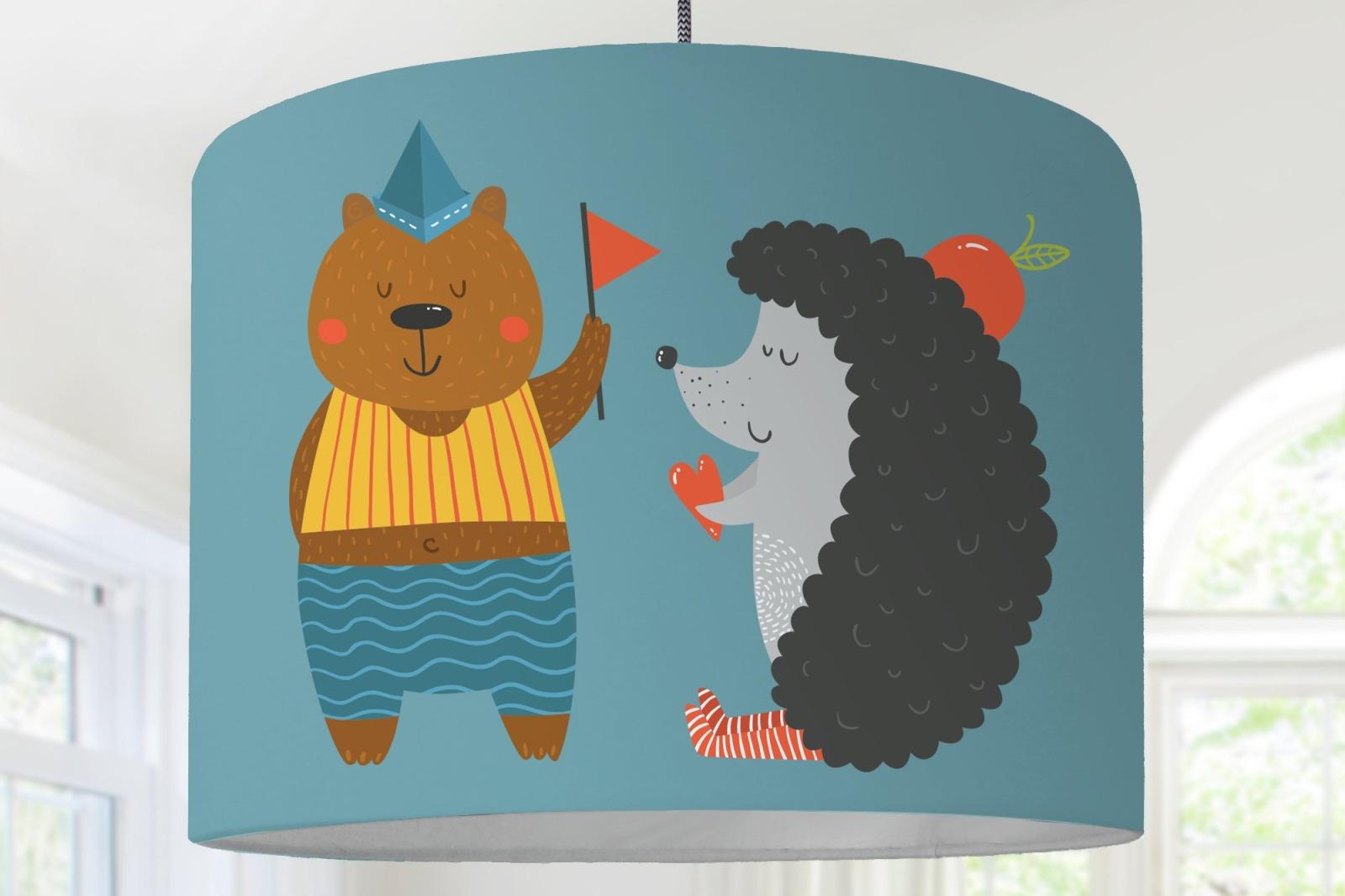Lampenschirm Kinderzimmer Waldtiere Igel Bär Huhn Tiger Herz Babyzimmer  Babylampe Baby Blau ...