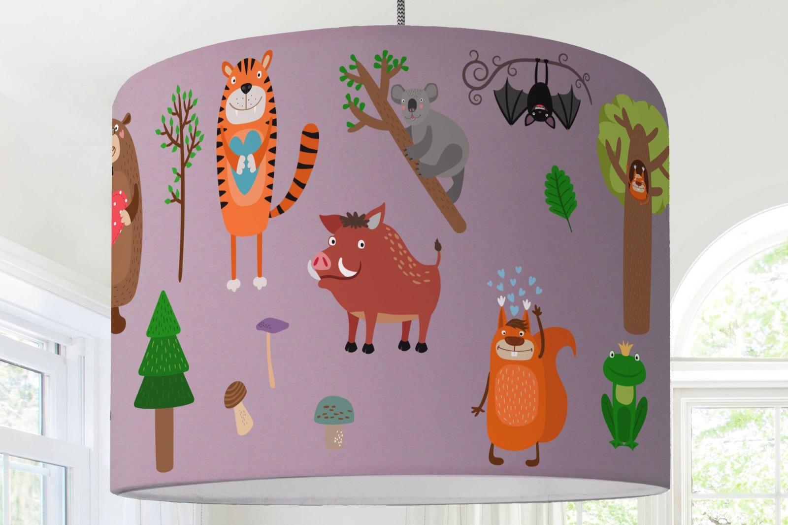 Lampenschirm Kinderzimmer Tiere Wald Waldtiere Eichhörnchen Tiger ...