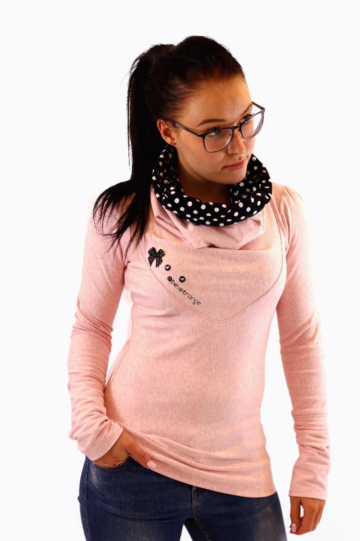 Hoody Mika-32 rosa schwarz Punkte Schleife