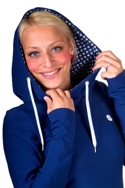 Hoodykleid Tilda-5 Sweatkleid blau weiss Klee