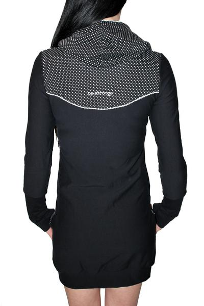 Hoodykleid Paula-2 schwarz Punkte Spitze Kleid