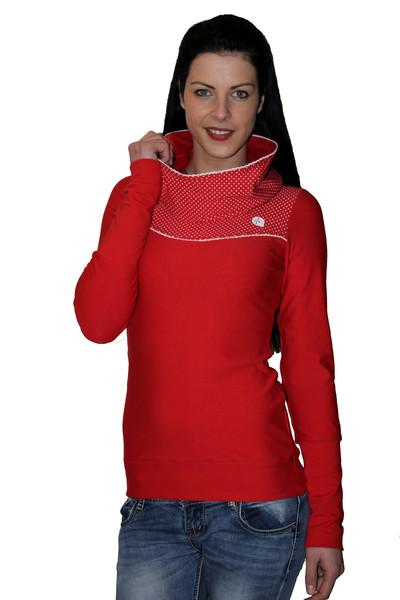 Hoody Paula-1 rot Punkte Spitze Pullover