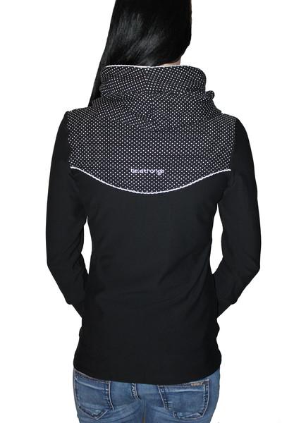 Hoody Paula-2 schwarz Punkte Spitze Pullover