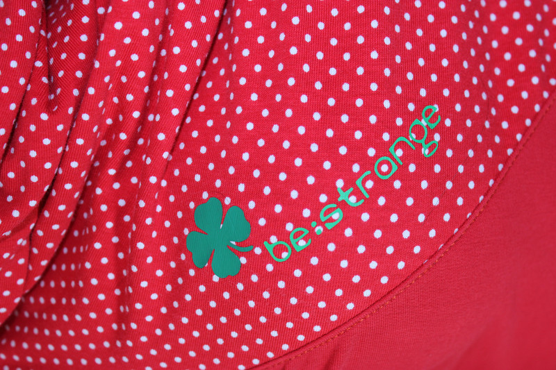 Hoodykleid Mika-2 rot,Punkte,Kleeblatt - 2