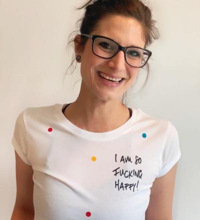 T-Shirt Fucking happy - T-Shirt weiß, Konfetti, Happy