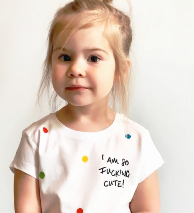 T-Shirt Cute Kinder-Shirt weiß bunte Punkte