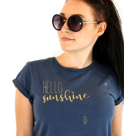 T-Shirt Hello Sunshine - blau gold