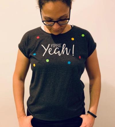 T-Shirt Yippie Yeah T-Shirt grau Konfetti