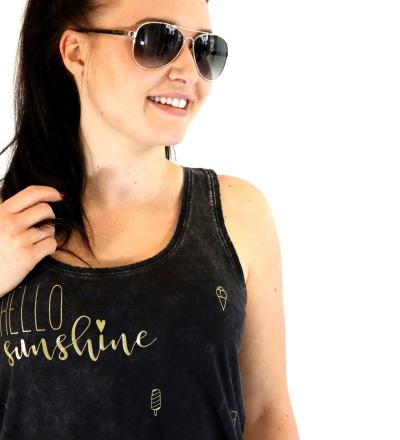 Tanktop Hello Sunshine - schwarz, gold