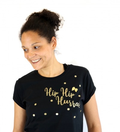 T-Shirt Hip Hip Hurra - schwarz gold