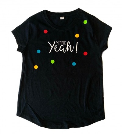 KIDS T-Shirt Yippie Yeah Kinder-Shirt schwarz