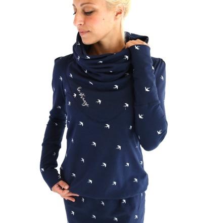 Hoodiekleid Luna-29 - dunkelblau Schwalben