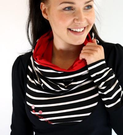 HOODIE Mika-41 Streifen schwarz weiß rot