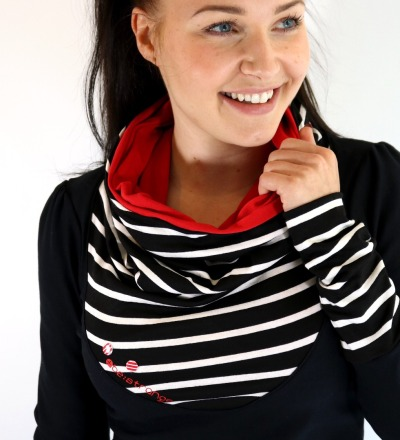 Hoody Mika-41 - Streifen schwarz weiss rot