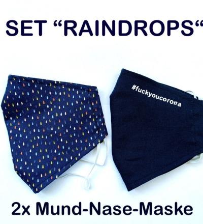 2x Mund-& Nasenbedeckung - Raindrops