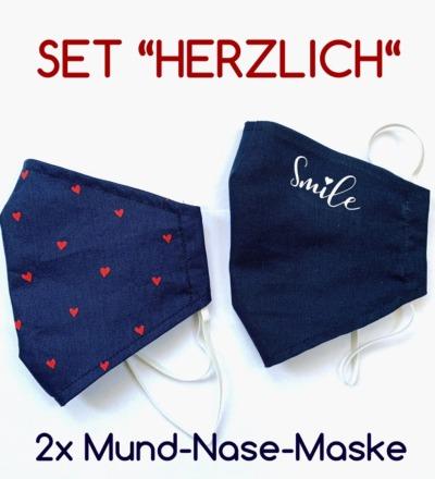 2x Mund-& Nasenbedeckung - Herzlich