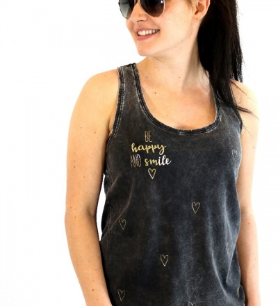 Tanktop Happy Smile - schwarz gold