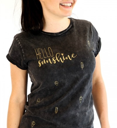 T-Shirt Hello Sunshine - Schwarz gold