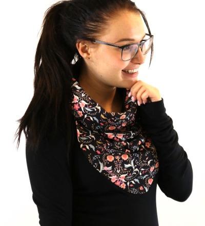 HOODIE Mika-30 - Blumen schwarz rosa