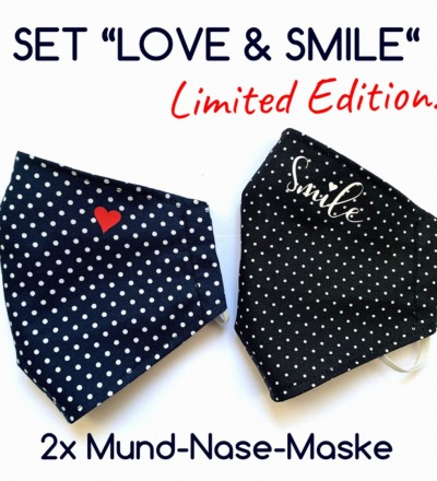 2x Mund-& Nasenbedeckung LOVE SMILE limited