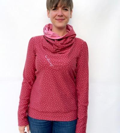 Hoodie Mika-64 - mauve rosa Punkte