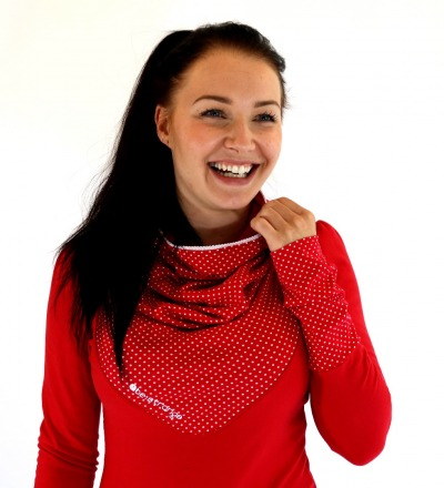 Hoody Mika-40 - rot weiss Punkte Spitze
