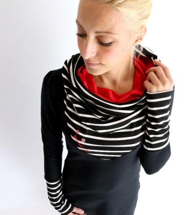 Hoodiekleid Mika-41 Streifen schwarz weiß rot