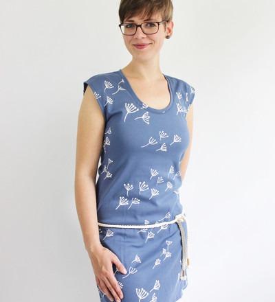 Sommerkleid Kate-1 Pusteblume blau Guertel