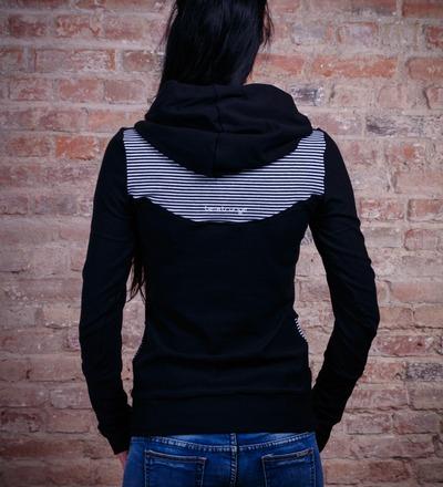 Hoody Sara-3 Pullover schwarz weiss gestreift
