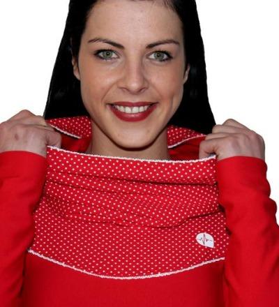 Hoodykleid Paula-1 rot Punkte Spitze Kleid