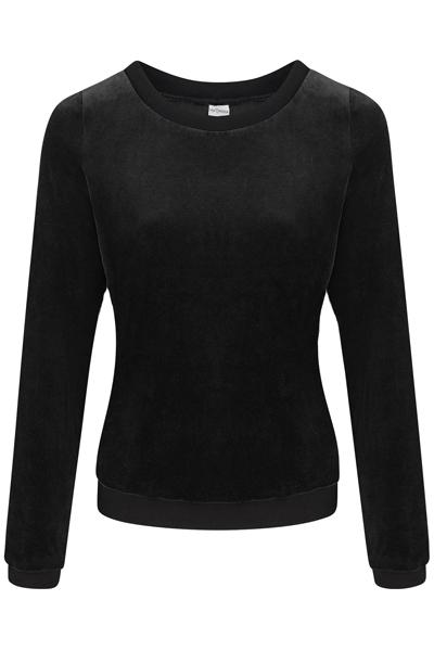 Organic jumper Onne velour velvet black