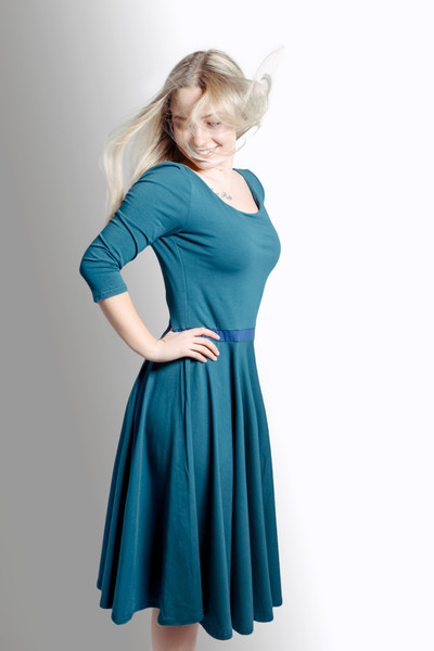 Bio Kleid Vrida smaragd/ blau 2