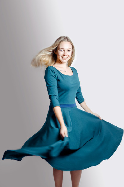 Bio Kleid Vrida smaragd/ blau 4