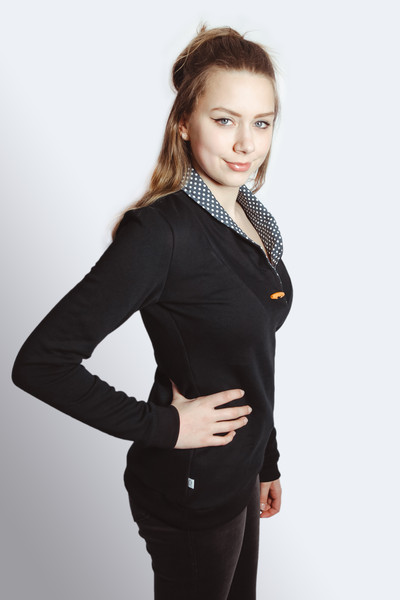 Bio Sweater Kraja schwarz / kleine Punkte - 1