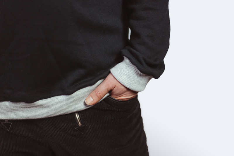 Bio Sweater Heada schwarz Bündchen hgrau - 3
