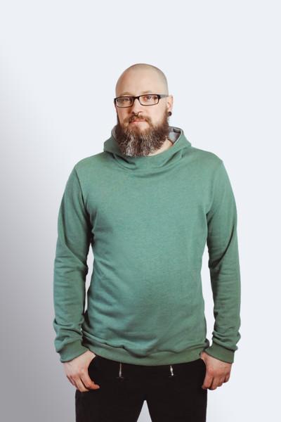 Bio Hoodie Heada grün meliert/ grau