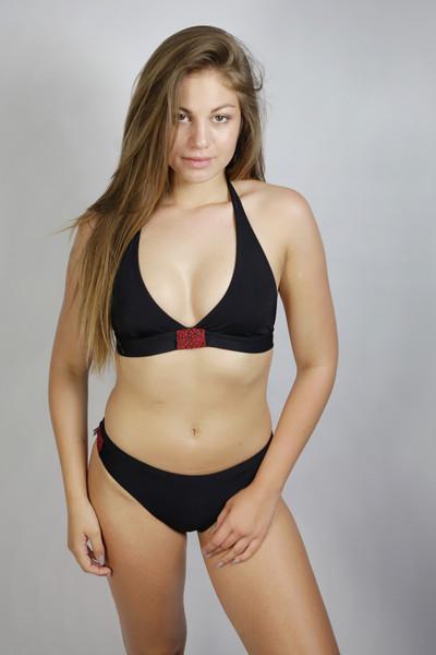 Recycling Bikini Fjorde schwarz/ Jacquard rot - 1