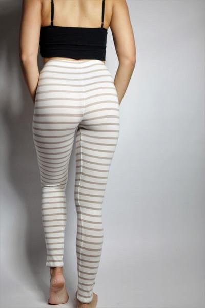 Bio Leggings,weiß/ creme gestreift - 2