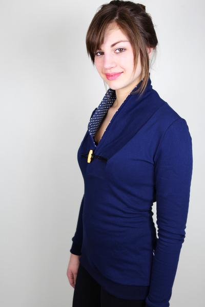 Bio Sweater Kraja dunkelblau / Punkte - 1