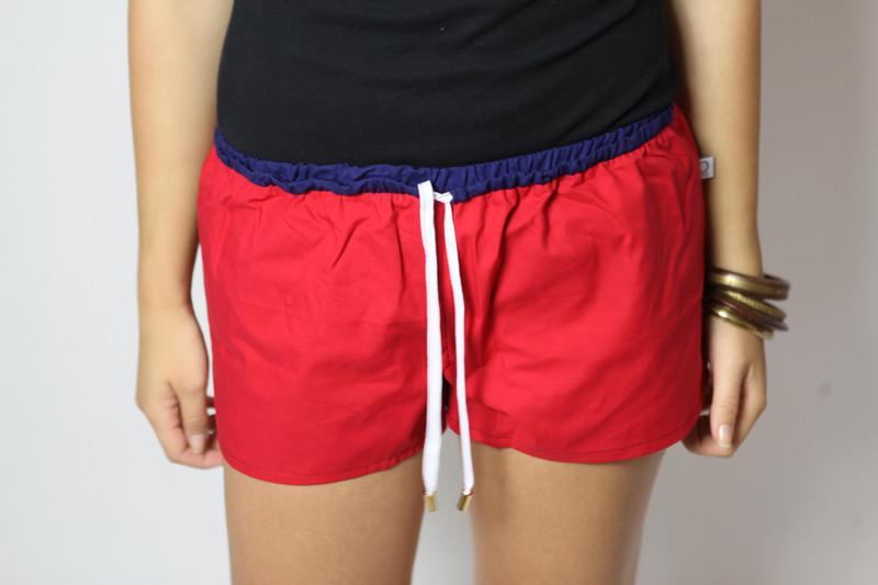 Bio Shorts Smölla rot/ blau/ weiß