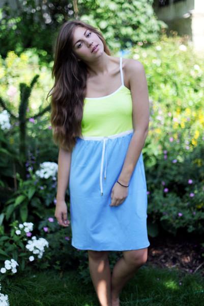 Bio Kleid melon / himmelblau / weiß - 1