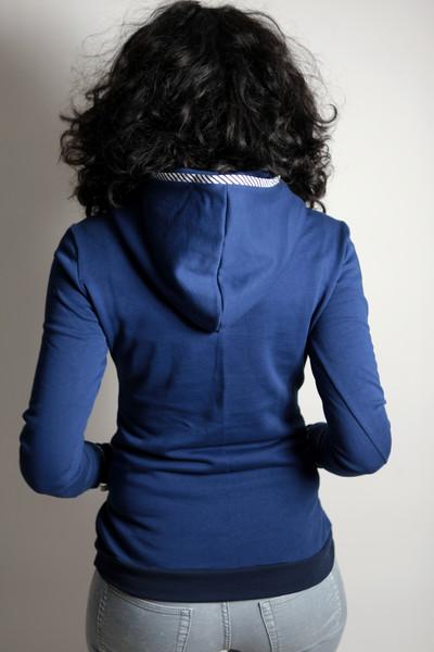 Bio Hoodie Fjalske dunkelblau / Streifen