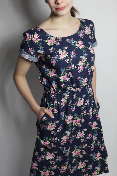 Bio Kleid Somrig Blumenranken blau - 2