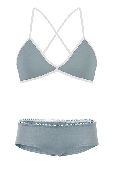 Set: Bio bra hipster panties grey