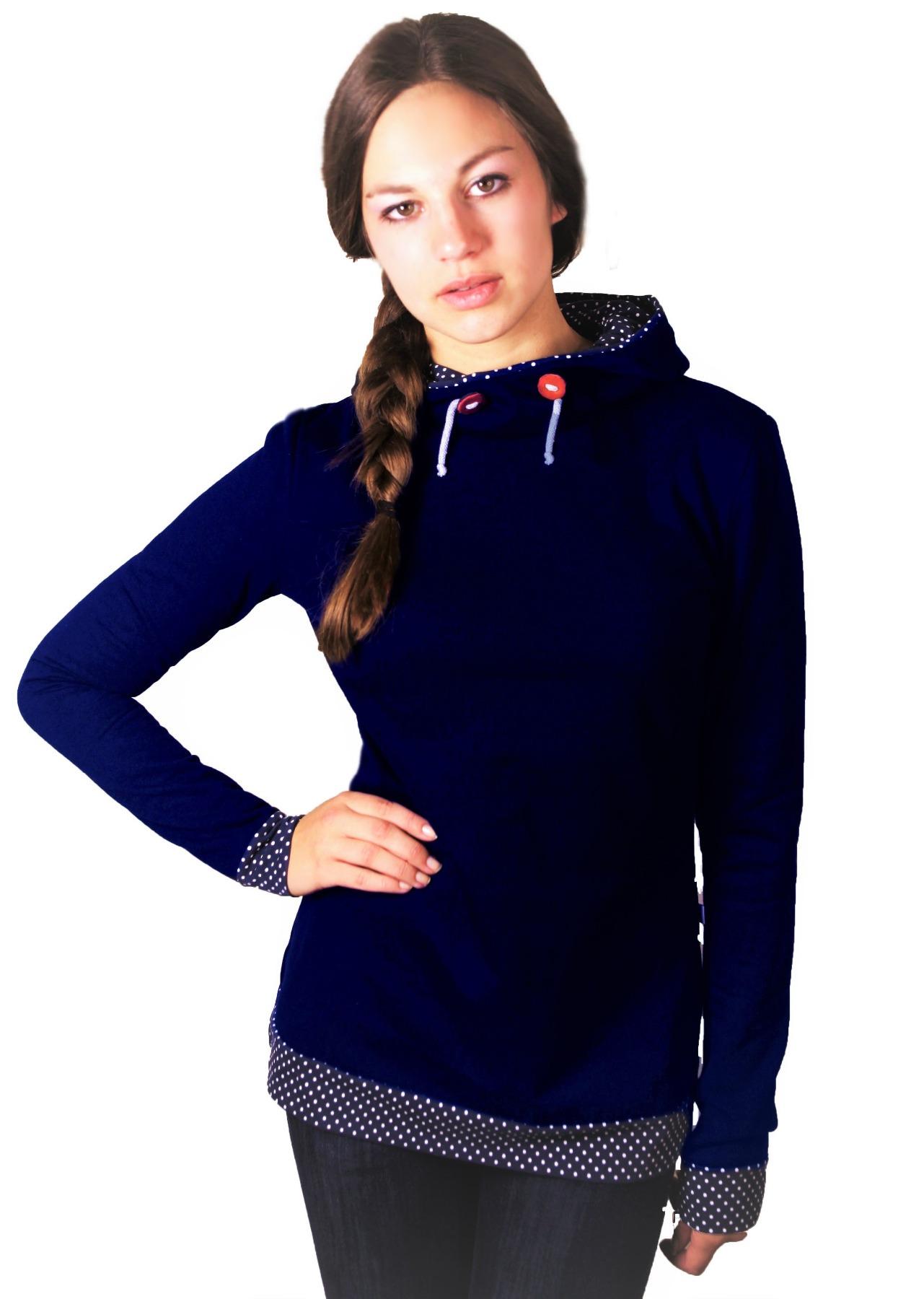 Bio Hoodie Marize dunkelblau / Punkte