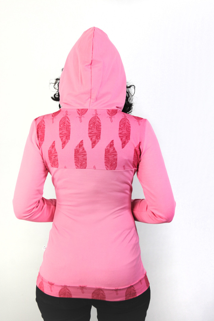 Bio Hoodie D rosa Federn rosa