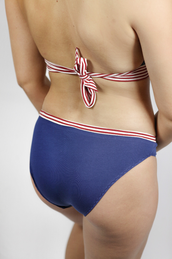 Bio Baumwolle Bikini Fjorde marine/ gestreift