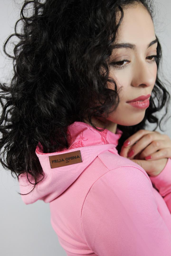 Bio Hoodie Fr bel rosa Federn rosa