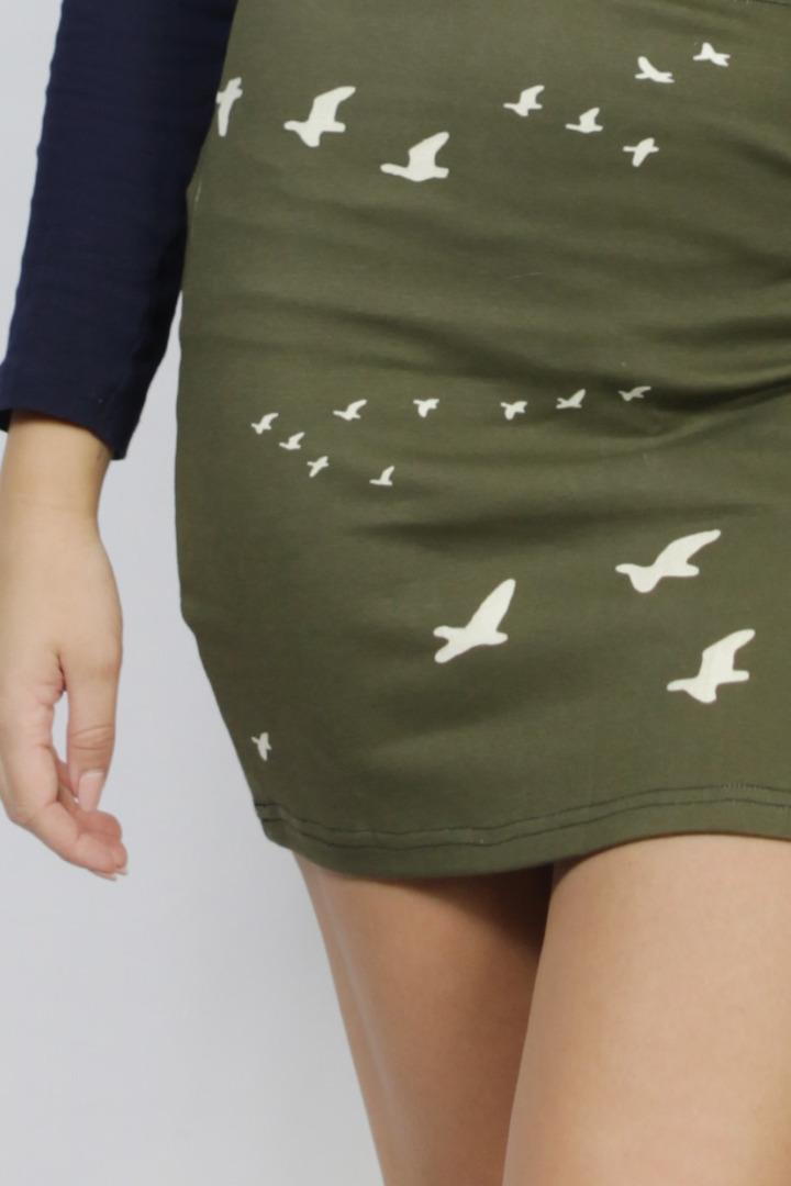 Organic skirt Snoba khaki / birds