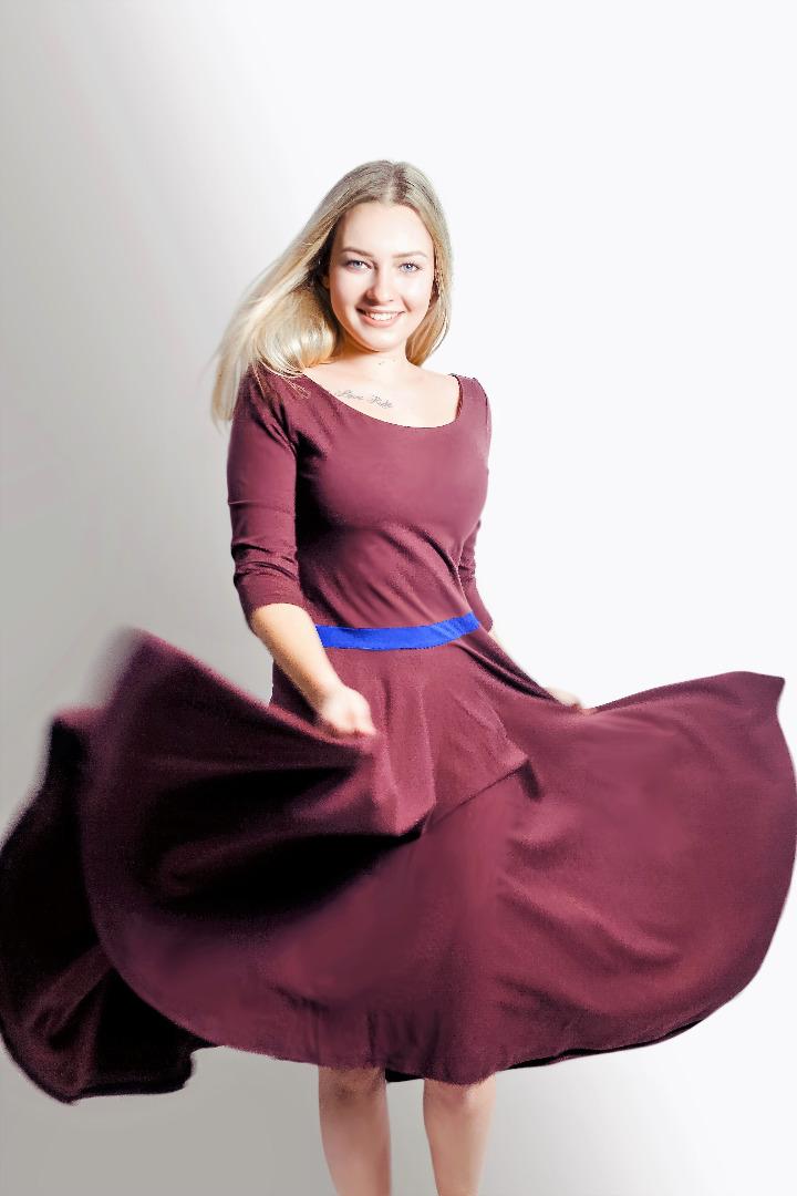 Bio Kleid Vrida aubergine / blau